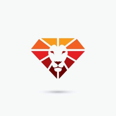 Poster Fire diamond lion symbol