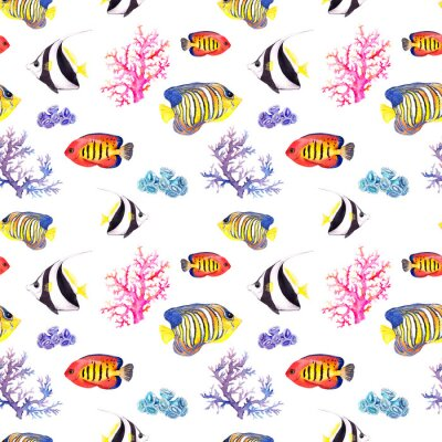 Poster Fish and seashell. Repeating seamless pattern. Watercolor