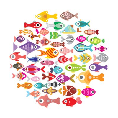 Poster Fish icons round