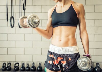 Poster fit woman making biceps training