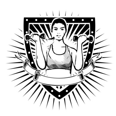 Poster fitness woman shield