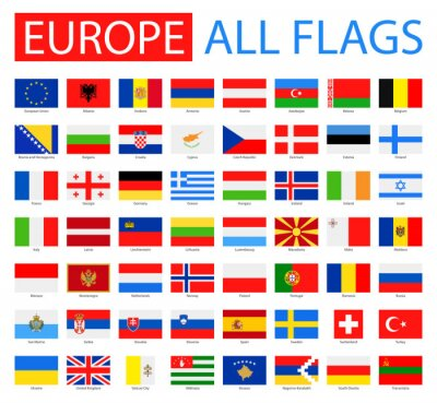 Poster Flags of Europe - Full Vector Collection. Vector Set of Flat European Flags.