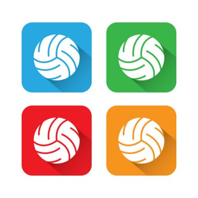 Poster Flat and Long Shadow Volleyball Icon