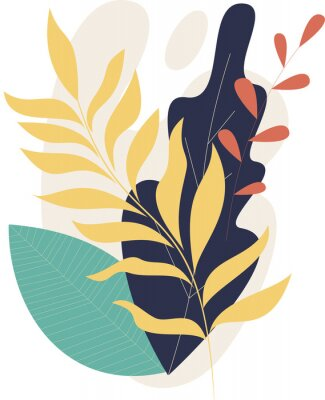 Poster Flat modern floral foliage illustration on the white isolated background. Abstract shapes.