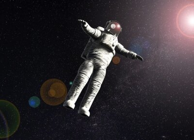 Poster floating astronaut in space with sun