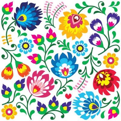Poster Floral Polish folk art pattern in square - Wycinanki