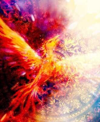Poster Flying phoenix bird as symbol of rebirth and new beginning and ancient ornament in background.