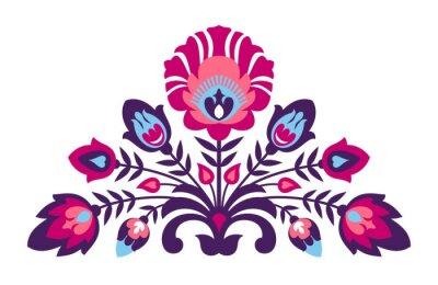 Poster Folk papercut style flowers