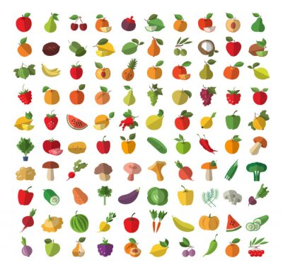 Poster Food. Fruit and vegetables. Set of colored icons