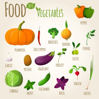 Poster Food vegetables set