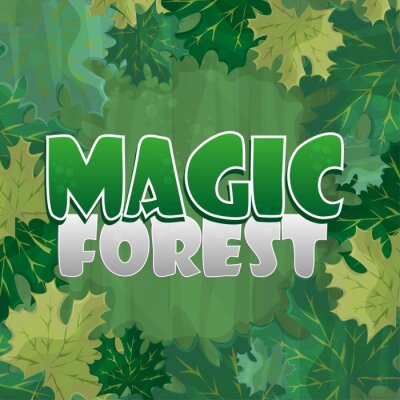 Poster Frame for text decoration. Enchanted forest with green maple leaf - cartoon