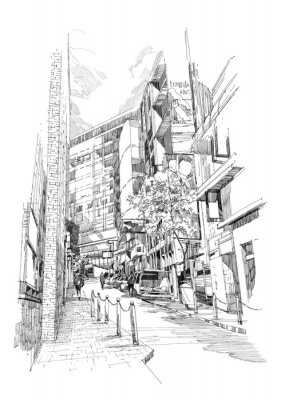 Poster free hand sketch of the old alley of the city