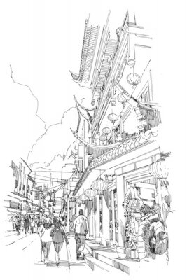 Poster freehand sketch Chinese buildings and city street