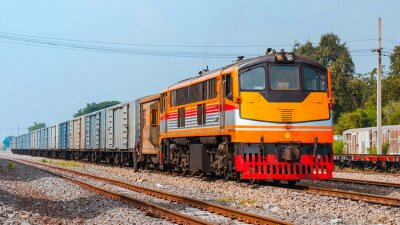 Poster Freight train was shunting.  Thailand - October 2015, The beverage freight was shunting in Ban Pachl junction yard. (Taken form public platform.)