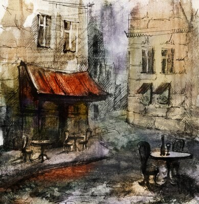 Poster French  outdoor european cafe painting, graphic drawing in color