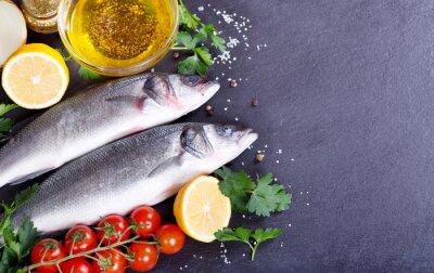 Poster fresh fish sea bass