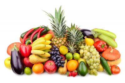 Poster fresh fruits and vegetables isolated on white