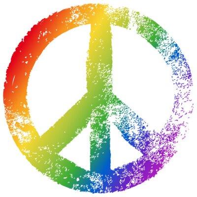 Poster Friedenszeichen, Regenbogenfarben, Vektor, Grunge, freigestellt