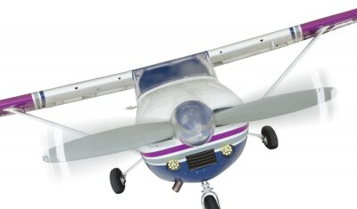 Poster Front of Cessna 172 Single Propeller Airplane On White