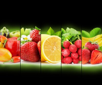 Poster fruit and vegetable stripe collection on black background