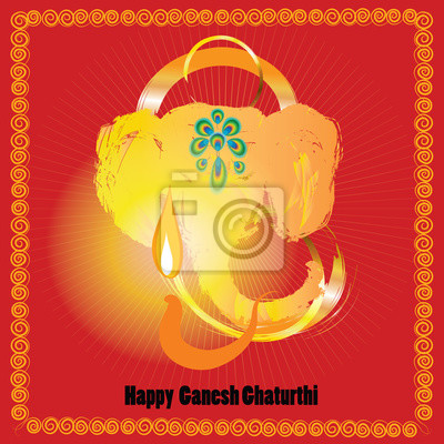 Ganesh chaturthi red greeting card for indian festival vinayaka poster ganesh chaturthi red greeting card for indian festival vinayaka chaturthi gold elephant head m4hsunfo