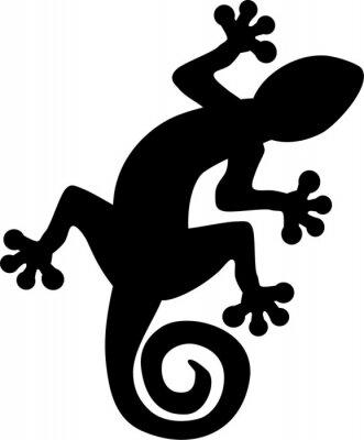 Poster Gecko lizard silhouette