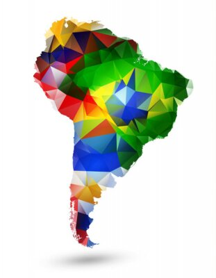 Poster GEOMETRIC DESIGN MAP OF SOUTH AMERICA