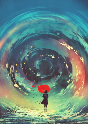Poster girl with red umbrella makes a swirling water in the sky, digital art style, illustration painting