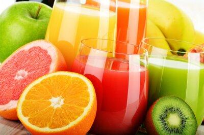 Poster Glasses of assorted fruit juice. Detox diet