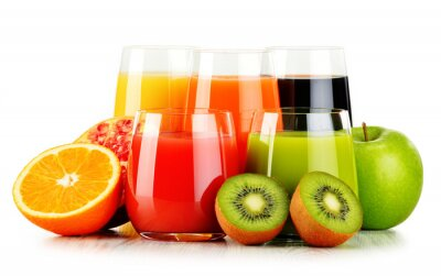 Poster Glasses of assorted fruit juices isolated on white. Detox diet