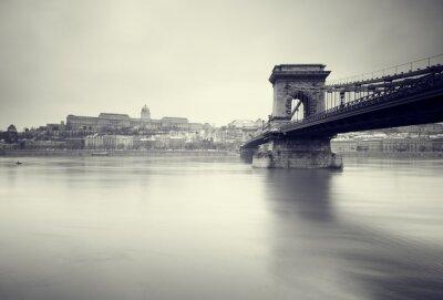 Poster Gloomy winter  image of  Hungarian landmarks,