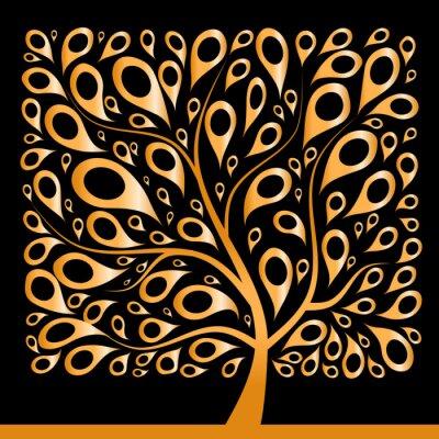 Golden tree beautiful, square shape