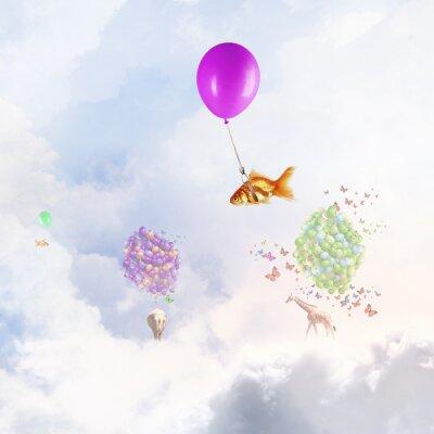 Poster Goldfish fly on balloon