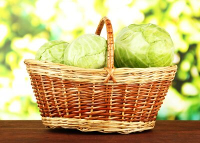Poster Green cabbage in wicker basket, on bright background