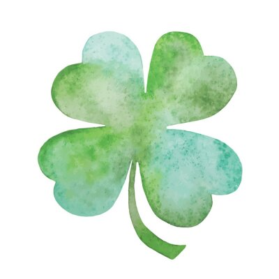 Poster Green clover watercolor Illustration