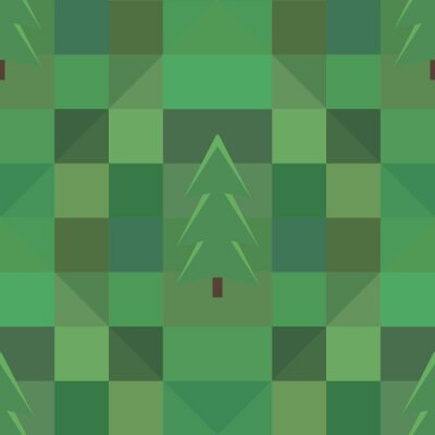 Poster green square pattern many trees background