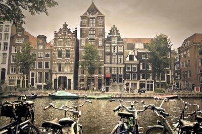Poster grey day in amsterdam city