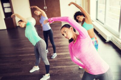 Poster group of happy women working out in gym