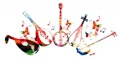 Poster Group of music instruments with butterflies