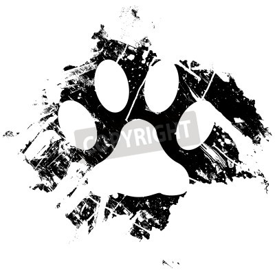 Poster Grunge pet or cat paw print. Can be used as a background or as a minor design element.