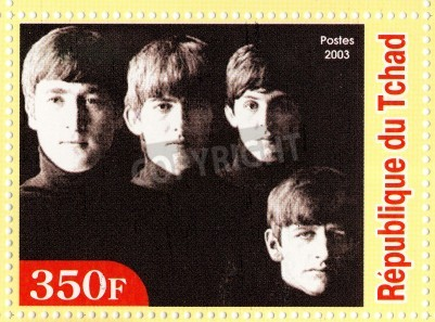 Poster GUINEA - CIRCA 2003 : The Beatles  - 1980s famous musical pop group.