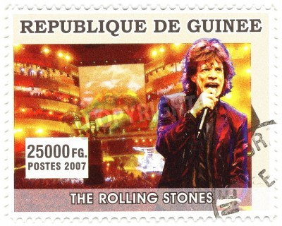 Poster GUINEA - CIRCA 2007   famous rock singer Mick Jagger from  music band of Rolling Stones