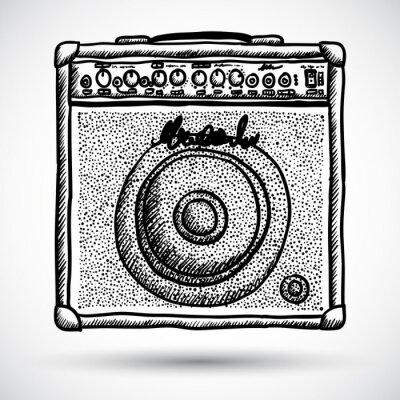 Poster Guitar Combo Amplifier Vector Illustration