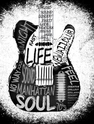Poster Guitar vector graphic design