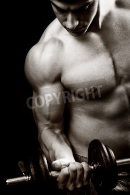 Poster Gym and fitness concept - bodybuilder and dumbbell over black