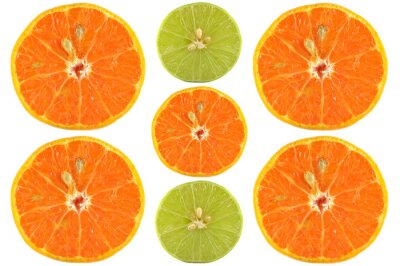 Poster Halves of orange and lime on white background