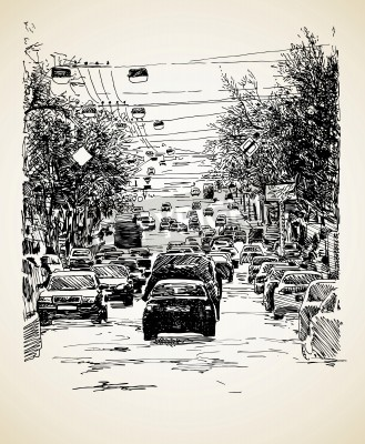 Poster hand draw line art city traffic composition