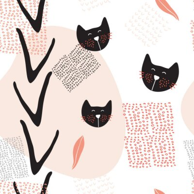 Poster Hand drawn abstract seamless background pattern with cute cats