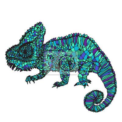 Poster Hand-drawn chameleon illustration.