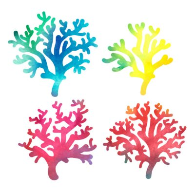 Poster hand drawn decorative watercolor coral